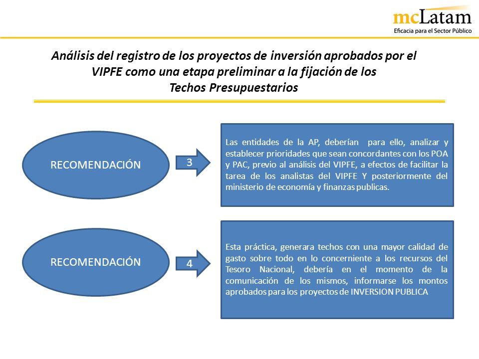 Análisis del registro de los proyectos de inversión aprobados por el VIPFE como una etapa preliminar a la fijación de los Techos Presupuestarios RECOM