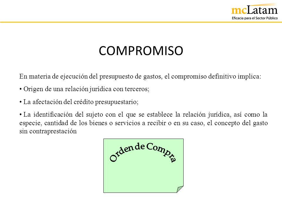 COMPROMISO En materia de ejecución del presupuesto de gastos, el compromiso definitivo implica: Origen de una relación jurídica con terceros; La afect