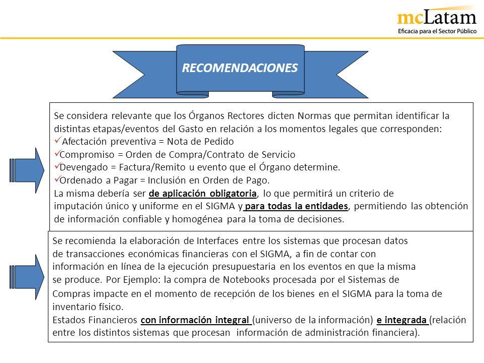 RECOMENDACIONES Se considera relevante que los Órganos Rectores dicten Normas que permitan identificar la distintas etapas/eventos del Gasto en relaci