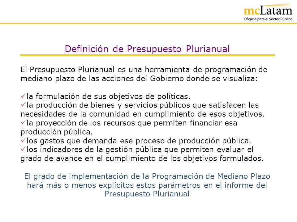 Definición de Presupuesto Plurianual El Presupuesto Plurianual constituye un poderoso instrumento para el Planeamiento Estratégico del Estado, toda vez que su seguimiento permite analizar los desvíos del POA y producir los ajustes necesarios, a la vez que el Presupuesto Plurianual se formula teniendo al Plan Estratégico como marco de referencia.