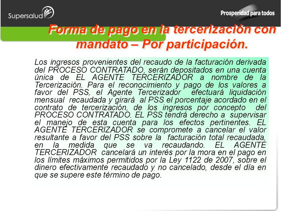 Forma de pago en la tercerización con mandato – Por participación.