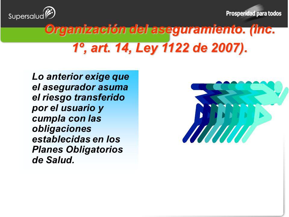 Organización del aseguramiento. (Inc. 1º, art. 14, Ley 1122 de 2007).
