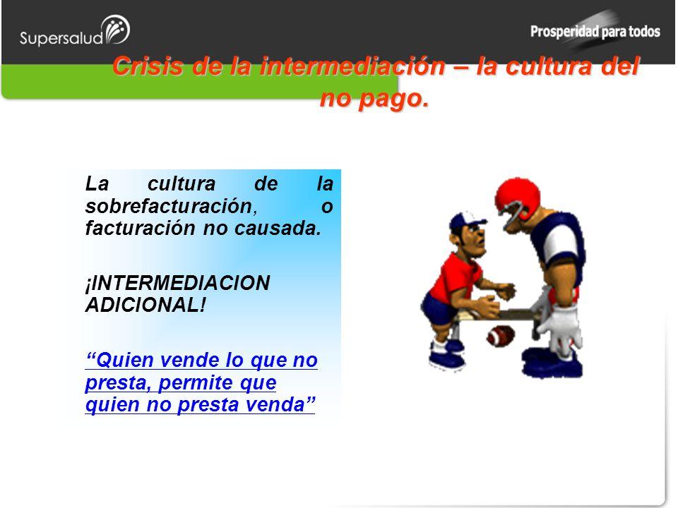 Crisis de la intermediación – la cultura del no pago.