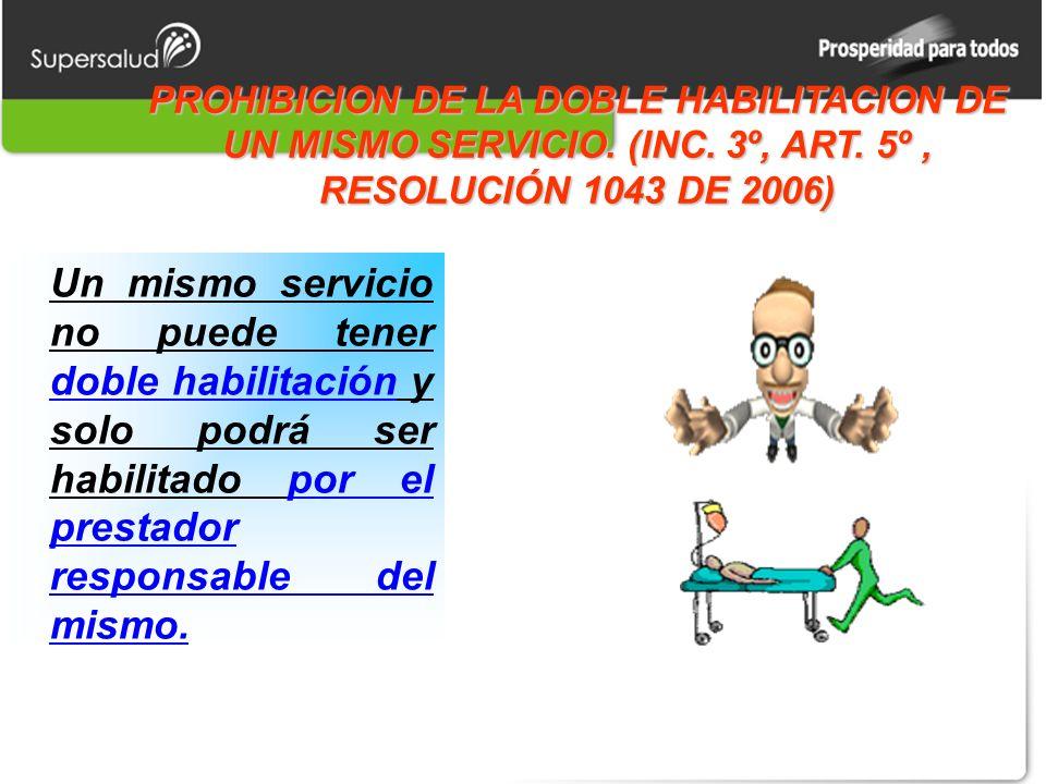 PROHIBICION DE LA DOBLE HABILITACION DE UN MISMO SERVICIO.