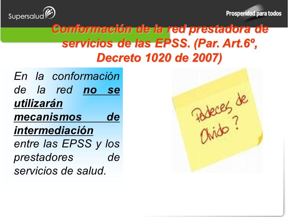 Conformación de la red prestadora de servicios de las EPSS.