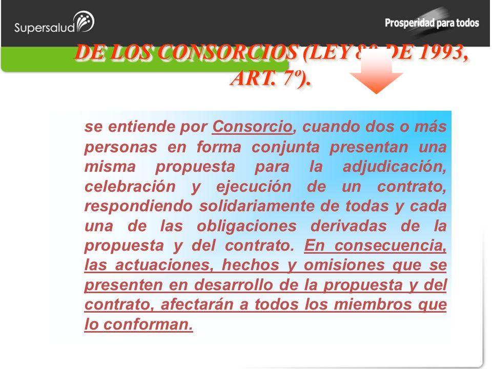 DE LOS CONSORCIOS (LEY 80 DE 1993, ART. 7º).