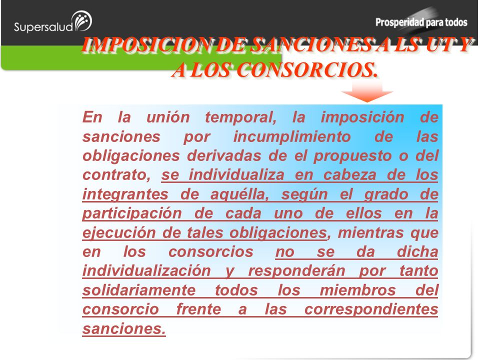 IMPOSICION DE SANCIONES A LS UT Y A LOS CONSORCIOS.