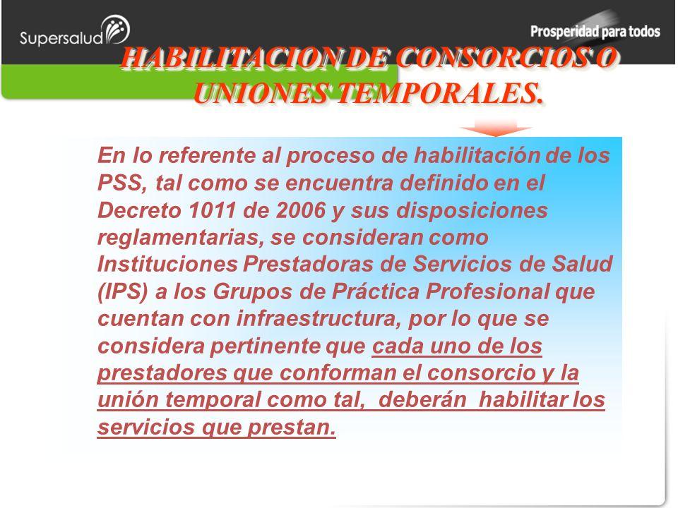 HABILITACION DE CONSORCIOS O UNIONES TEMPORALES.