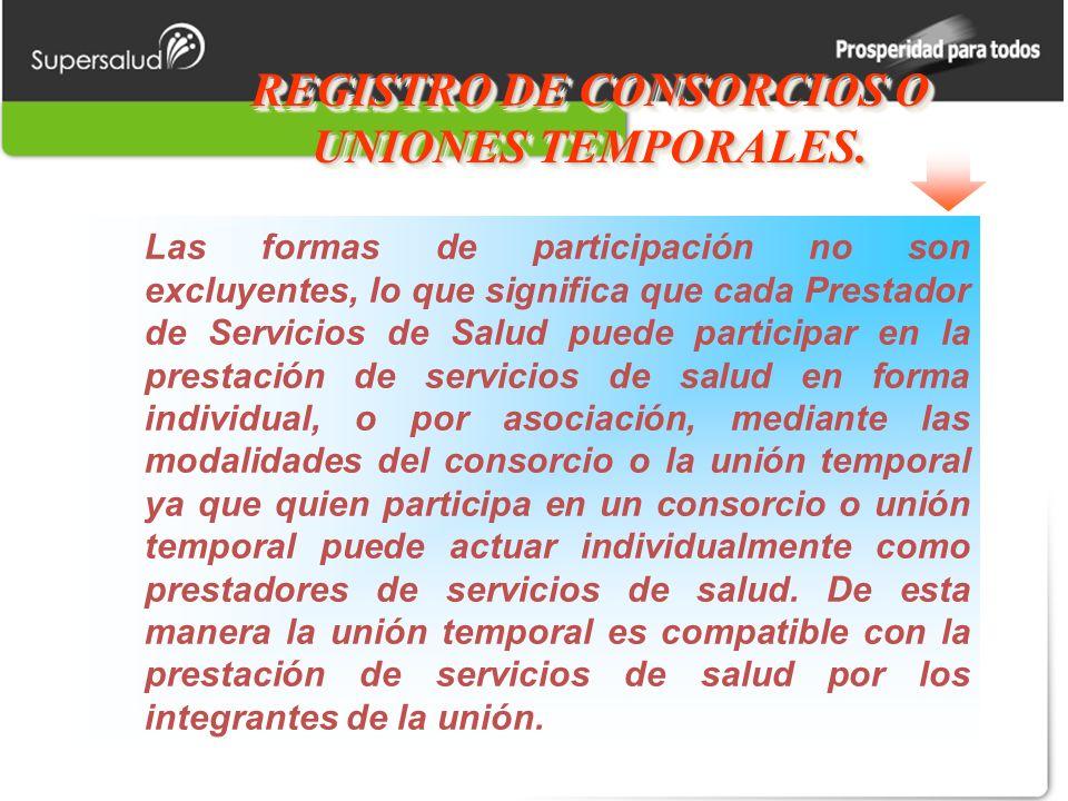 REGISTRO DE CONSORCIOS O UNIONES TEMPORALES.