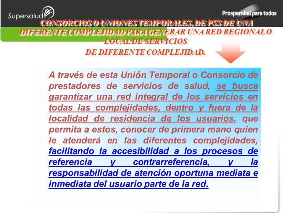 CONSORCIOS O UNIONES TEMPORALES, DE PSS DE UNA DIFERENTE COMPLEJIDAD PARA GENERAR UNA RED REGIONAL O LOCAL DE SERVICIOS DE DIFERENTE COMPLEJIDAD.