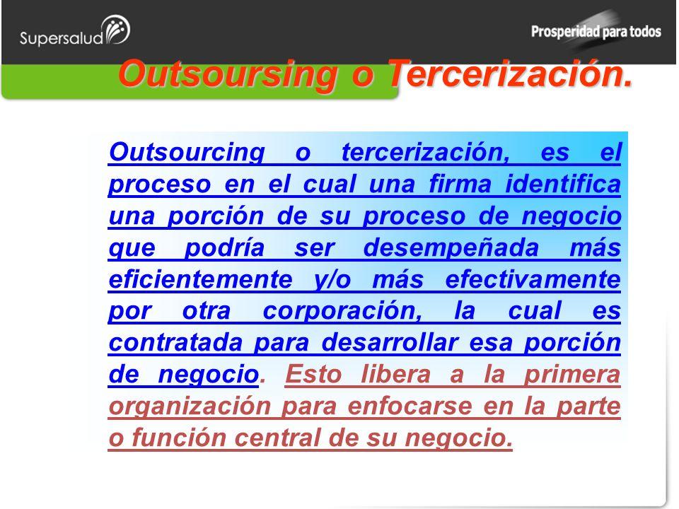 Outsoursing o Tercerización.