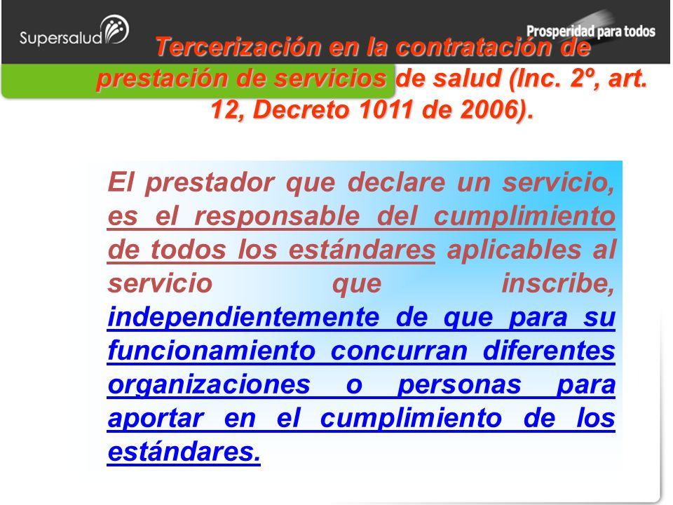 Tercerización en la contratación de prestación de servicios de salud (Inc.