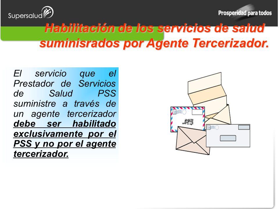 Habilitación de los servicios de salud suminisrados por Agente Tercerizador.
