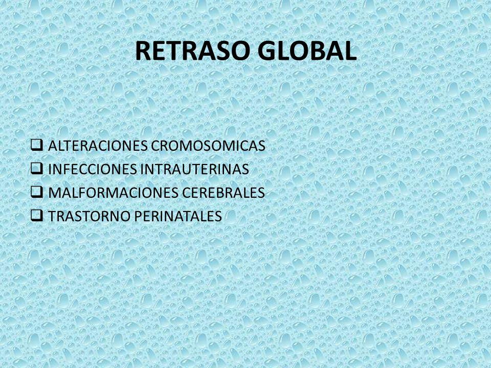 RETRASO GLOBAL ALTERACIONES CROMOSOMICAS INFECCIONES INTRAUTERINAS MALFORMACIONES CEREBRALES TRASTORNO PERINATALES