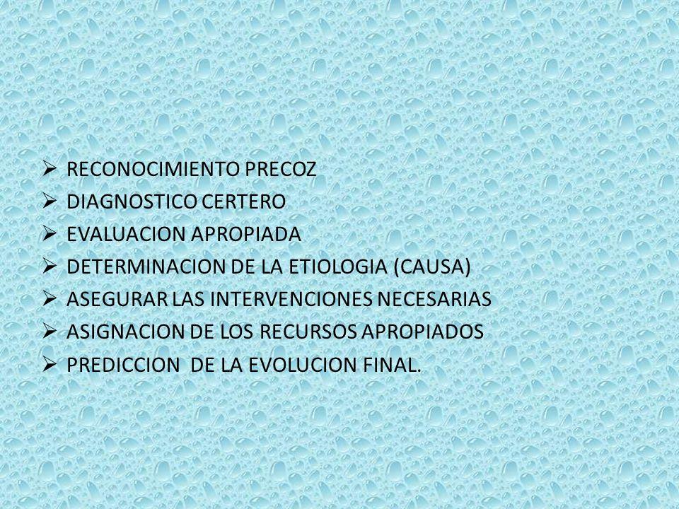 RECONOCIMIENTO PRECOZ DIAGNOSTICO CERTERO EVALUACION APROPIADA DETERMINACION DE LA ETIOLOGIA (CAUSA) ASEGURAR LAS INTERVENCIONES NECESARIAS ASIGNACION