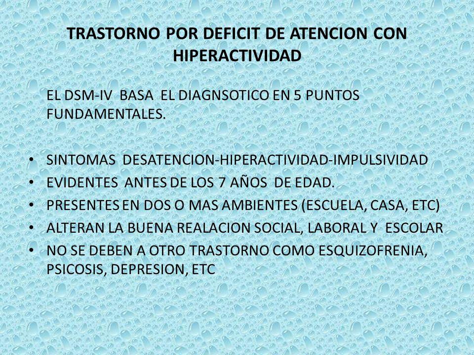 TRASTORNO POR DEFICIT DE ATENCION CON HIPERACTIVIDAD EL DSM-IV BASA EL DIAGNSOTICO EN 5 PUNTOS FUNDAMENTALES. SINTOMAS DESATENCION-HIPERACTIVIDAD-IMPU