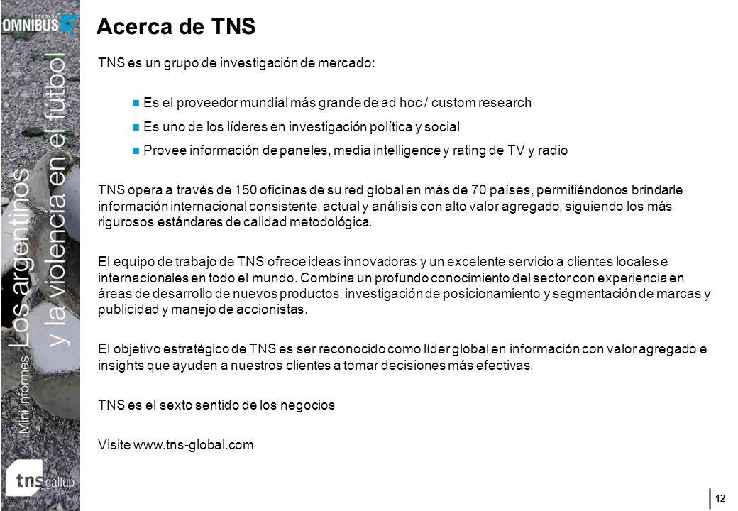 12 Acerca de TNS TNS es un grupo de investigación de mercado: Es el proveedor mundial más grande de ad hoc / custom research Es uno de los líderes en