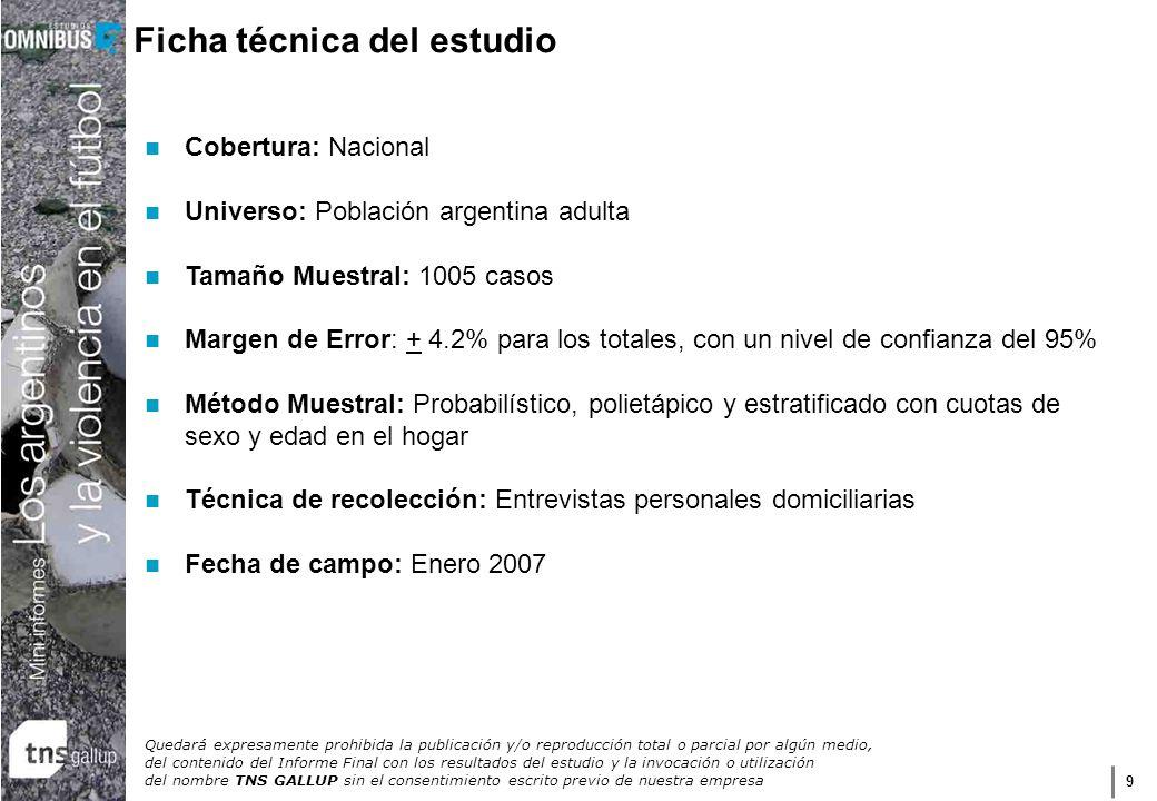 9 Ficha técnica del estudio Cobertura: Nacional Universo: Población argentina adulta Tamaño Muestral: 1005 casos Margen de Error: + 4.2% para los tota
