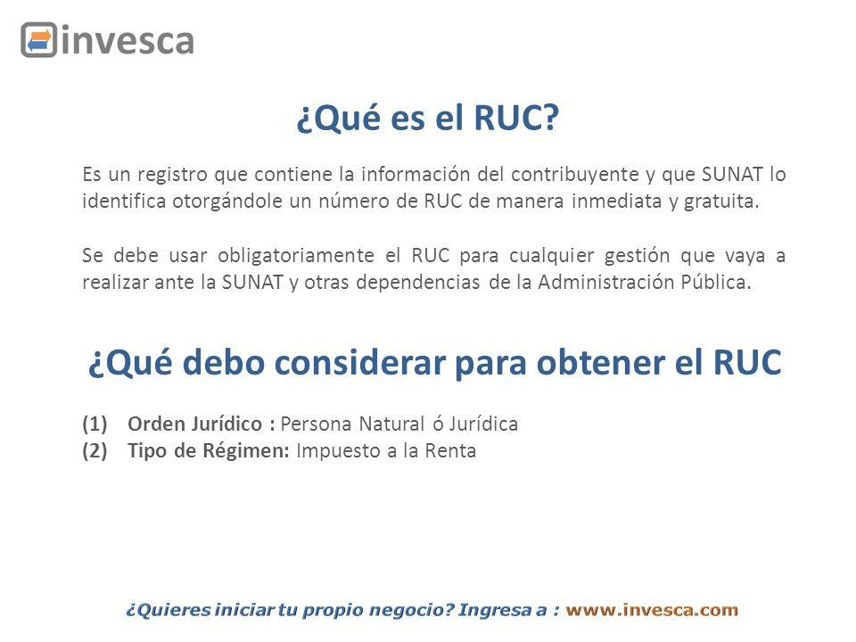 ¿Qué es el RUC? Es un registro que contiene la información del contribuyente y que SUNAT lo identifica otorgándole un número de RUC de manera inmediat
