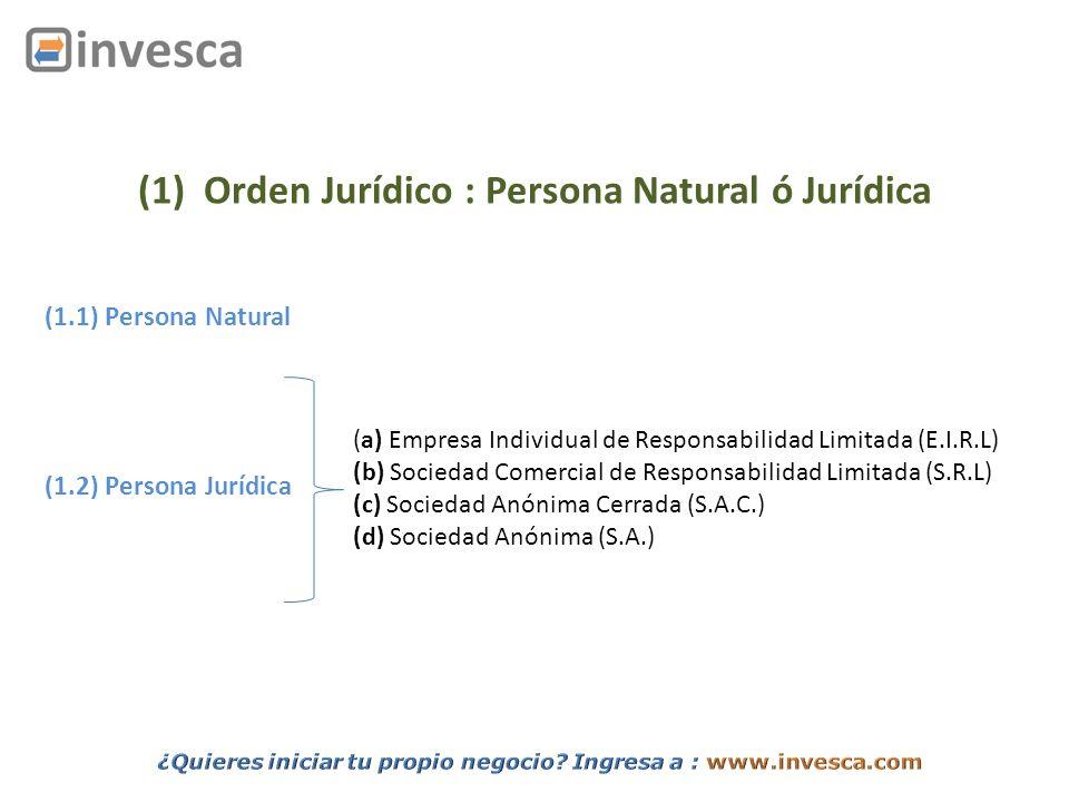 (1) Orden Jurídico : Persona Natural ó Jurídica (1.1) Persona Natural (1.2) Persona Jurídica (a) Empresa Individual de Responsabilidad Limitada (E.I.R