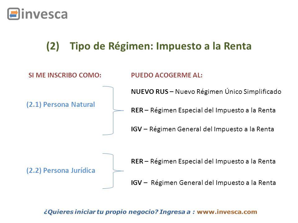 (2) Tipo de Régimen: Impuesto a la Renta (2.1) Persona Natural (2.2) Persona Jurídica SI ME INSCRIBO COMO:PUEDO ACOGERME AL: NUEVO RUS – Nuevo Régimen