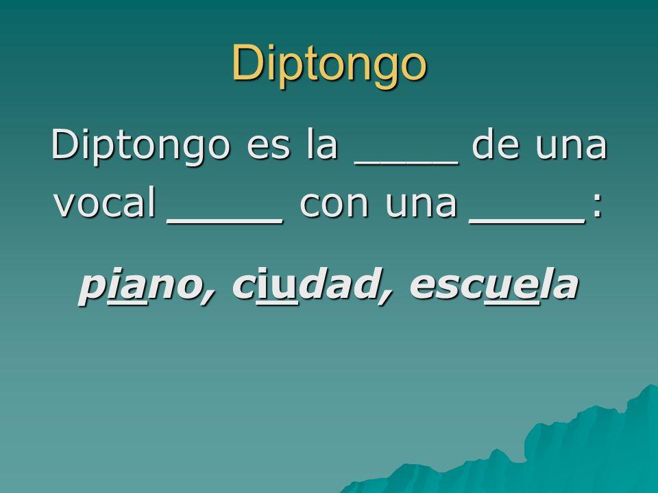 Diptongo Diptongo es la ____ de una vocal ____ con una ____: piano, ciudad, escuela