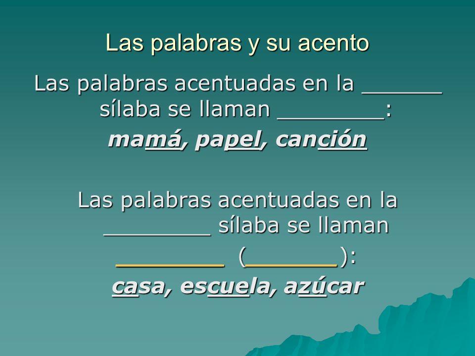 Las palabras y su acento Las palabras acentuadas en la ______ sílaba se llaman ________: mamá, papel, canción Las palabras acentuadas en la ________ s