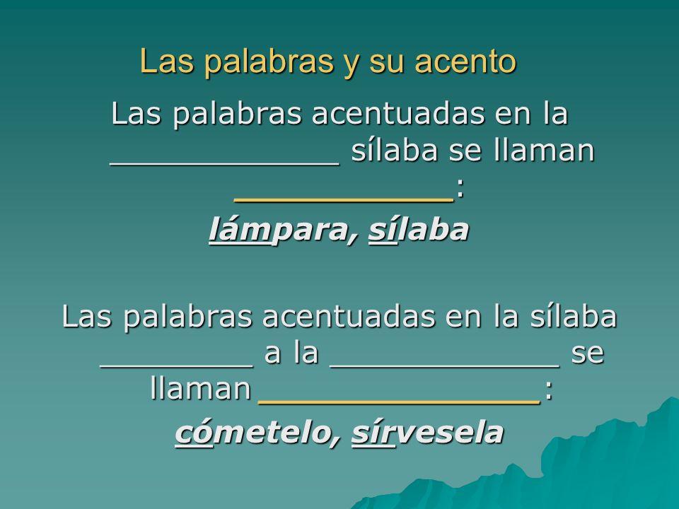 Las palabras y su acento Las palabras acentuadas en la ____________ sílaba se llaman __________: lámpara, sílaba Las palabras acentuadas en la sílaba