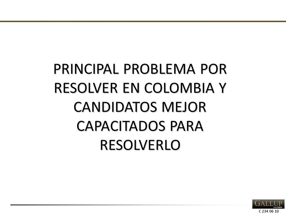 C 234 06 10 PRINCIPAL PROBLEMA POR RESOLVER EN COLOMBIA Y CANDIDATOS MEJOR CAPACITADOS PARA RESOLVERLO