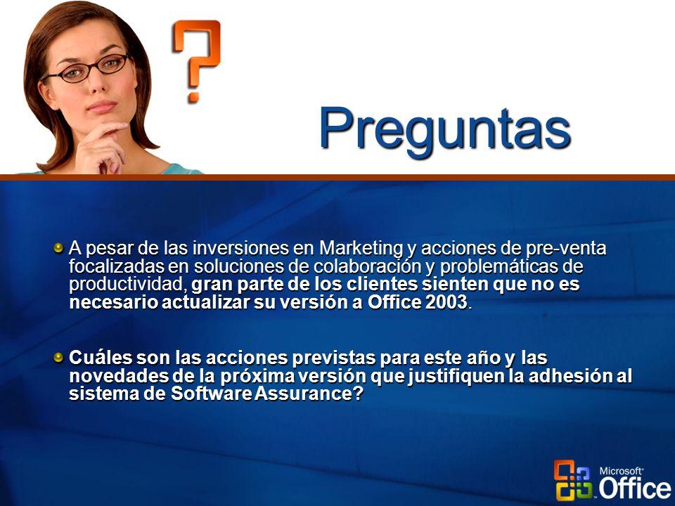 A pesar de las inversiones en Marketing y acciones de pre-venta focalizadas en soluciones de colaboración y problemáticas de productividad, gran parte de los clientes sienten que no es necesario actualizar su versión a Office 2003.