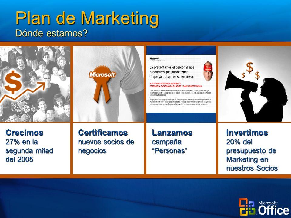 Invertimos 20% del presupuesto de Marketing en nuestros Socios LanzamoscampañaPersonas Certificamos nuevos socios de negocios Crecimos 27% en la segunda mitad del 2005 Plan de Marketing Dónde estamos