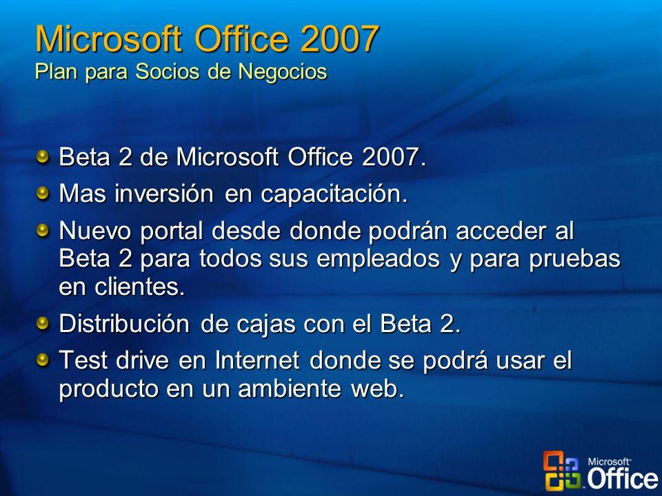 Beta 2 de Microsoft Office 2007. Mas inversión en capacitación. Nuevo portal desde donde podrán acceder al Beta 2 para todos sus empleados y para prue