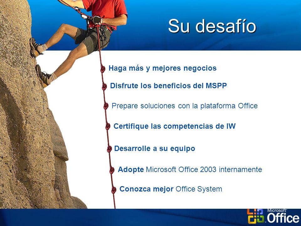 Disfrute los beneficios del MSPP Prepare soluciones con la plataforma Office Certifique las competencias de IW Desarrolle a su equipo Adopte Microsoft Office 2003 internamente Su desafío Conozca mejor Office SystemHaga más y mejores negocios