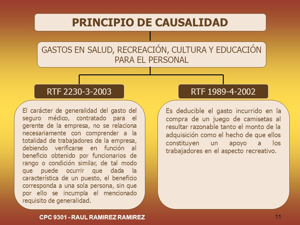CPC 9301 - RAUL RAMIREZ RAMIREZ 11 PRINCIPIO DE CAUSALIDAD GASTOS EN SALUD, RECREACIÓN, CULTURA Y EDUCACIÓN PARA EL PERSONAL RTF 2230-3-2003 El caráct