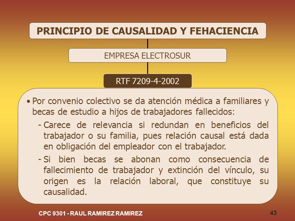 CPC 9301 - RAUL RAMIREZ RAMIREZ 43 PRINCIPIO DE CAUSALIDAD Y FEHACIENCIA EMPRESA ELECTROSUR RTF 7209-4-2002 Por convenio colectivo se da atención médi
