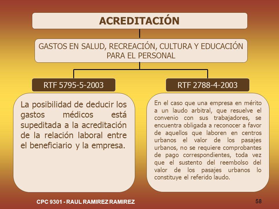 CPC 9301 - RAUL RAMIREZ RAMIREZ 58 ACREDITACIÓN GASTOS EN SALUD, RECREACIÓN, CULTURA Y EDUCACIÓN PARA EL PERSONAL RTF 5795-5-2003 La posibilidad de de
