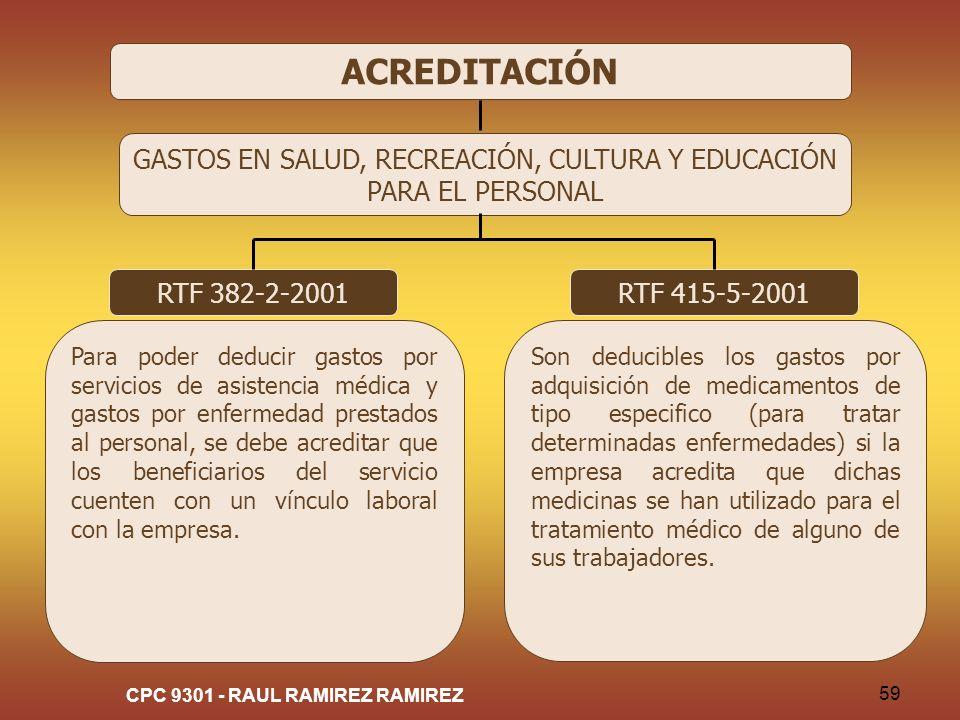CPC 9301 - RAUL RAMIREZ RAMIREZ 59 ACREDITACIÓN GASTOS EN SALUD, RECREACIÓN, CULTURA Y EDUCACIÓN PARA EL PERSONAL RTF 382-2-2001 Para poder deducir ga