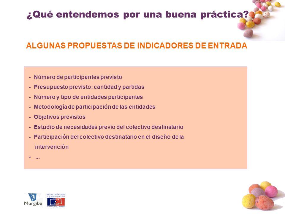 # ¿Qué entendemos por una buena práctica? ALGUNAS PROPUESTAS DE INDICADORES DE ENTRADA - Número de participantes previsto - Presupuesto previsto: cant