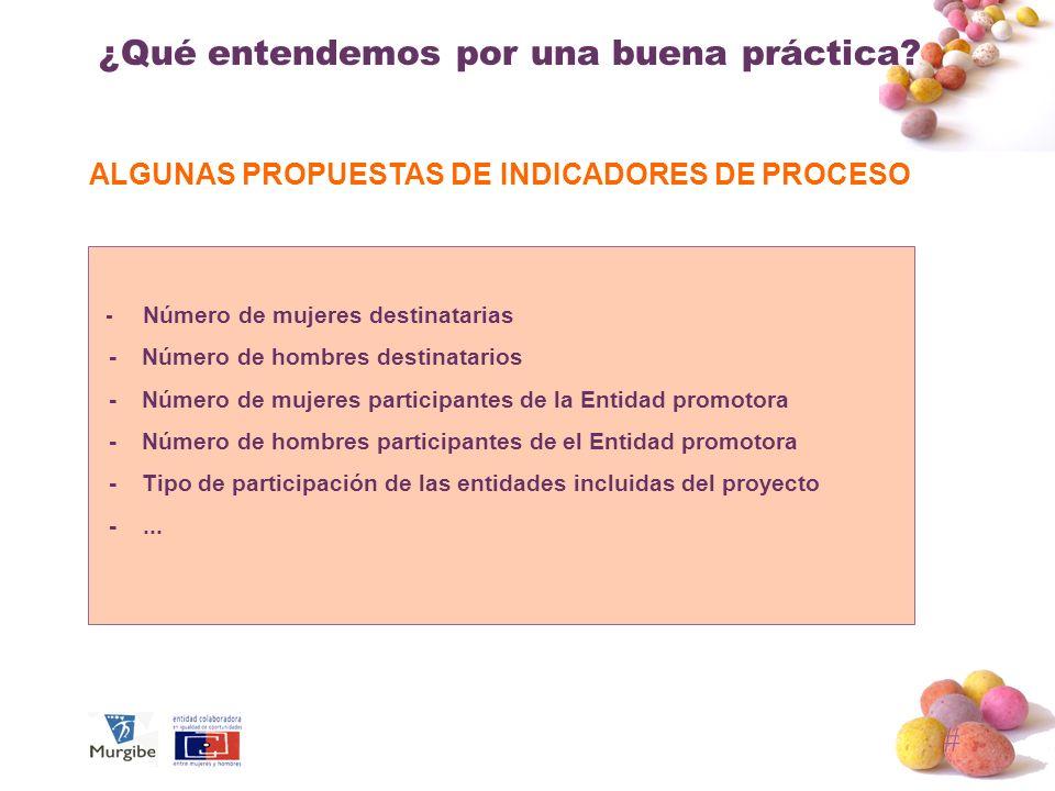# ¿Qué entendemos por una buena práctica? ALGUNAS PROPUESTAS DE INDICADORES DE PROCESO - Número de mujeres destinatarias - Número de hombres destinata