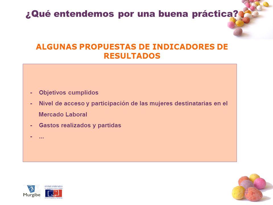 # ¿Qué entendemos por una buena práctica? ALGUNAS PROPUESTAS DE INDICADORES DE RESULTADOS - Objetivos cumplidos - Nivel de acceso y participación de l