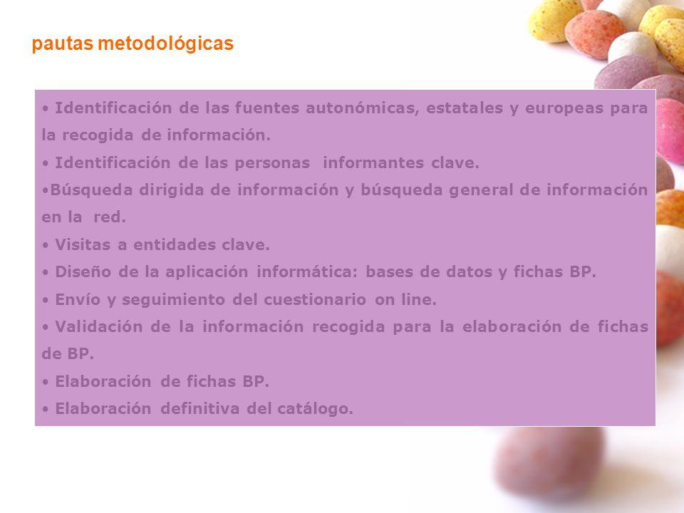 pautas metodológicas Identificación de las fuentes autonómicas, estatales y europeas para la recogida de información. Identificación de las personas i