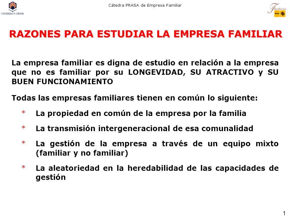 1 Cátedra PRASA de Empresa Familiar RAZONES PARA ESTUDIAR LA EMPRESA FAMILIAR La empresa familiar es digna de estudio en relación a la empresa que no