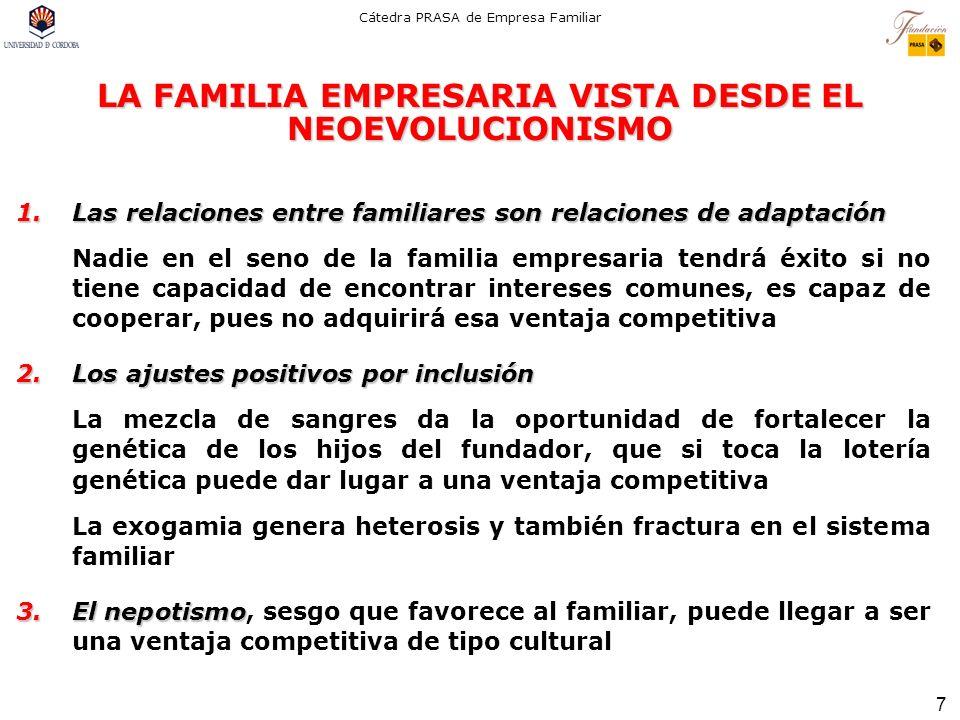 7 Cátedra PRASA de Empresa Familiar LA FAMILIA EMPRESARIA VISTA DESDE EL NEOEVOLUCIONISMO 1.Las relaciones entre familiares son relaciones de adaptaci
