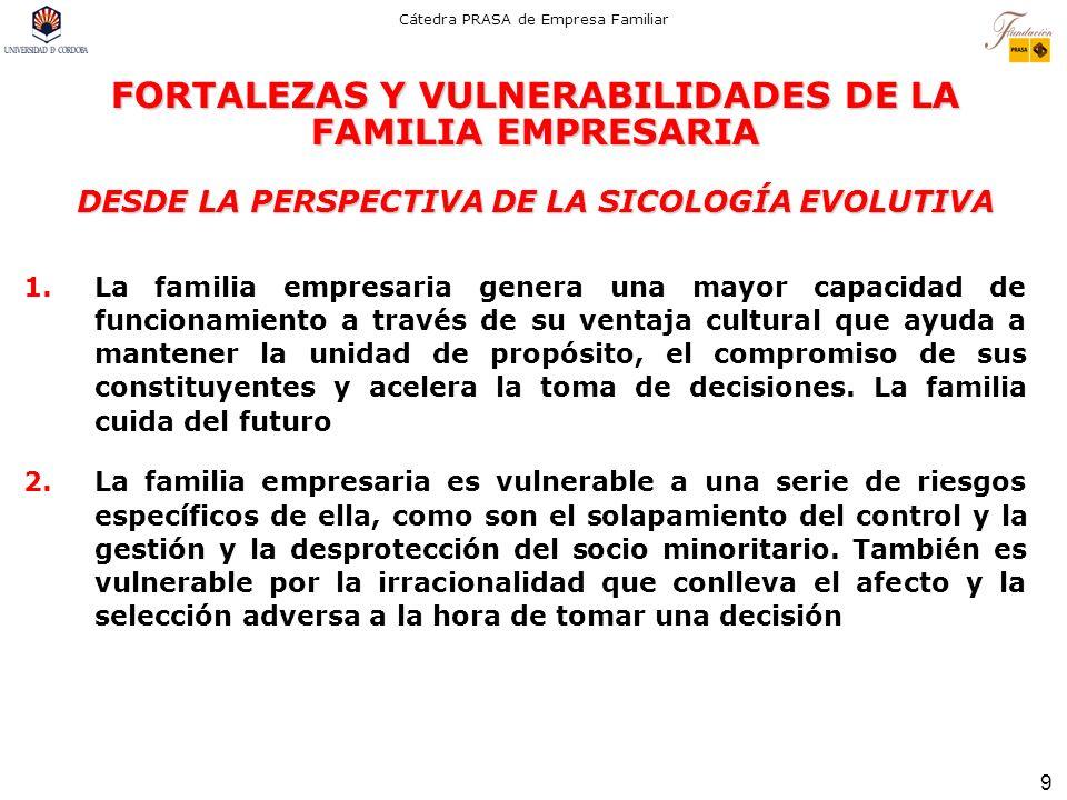 9 Cátedra PRASA de Empresa Familiar FORTALEZAS Y VULNERABILIDADES DE LA FAMILIA EMPRESARIA DESDE LA PERSPECTIVA DE LA SICOLOGÍA EVOLUTIVA 1.La familia
