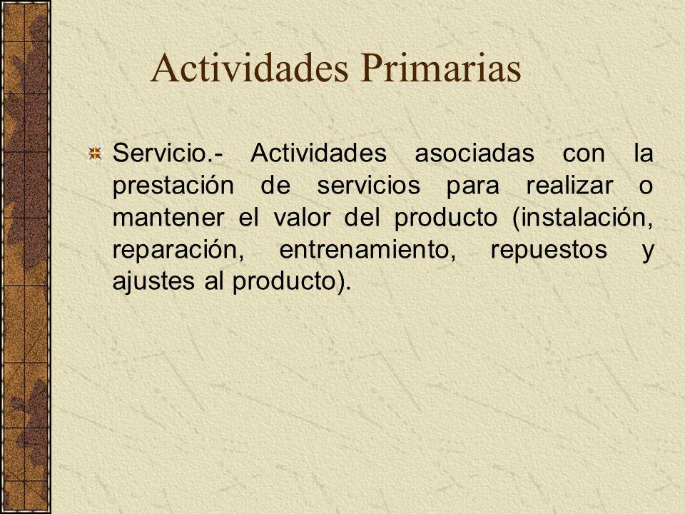Servicio.- Actividades asociadas con la prestación de servicios para realizar o mantener el valor del producto (instalación, reparación, entrenamiento