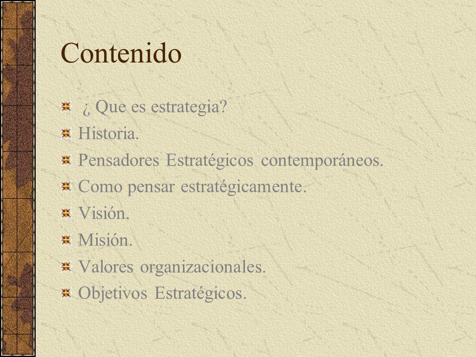 Contenido ¿ Que es estrategia? Historia. Pensadores Estratégicos contemporáneos. Como pensar estratégicamente. Visión. Misión. Valores organizacionale