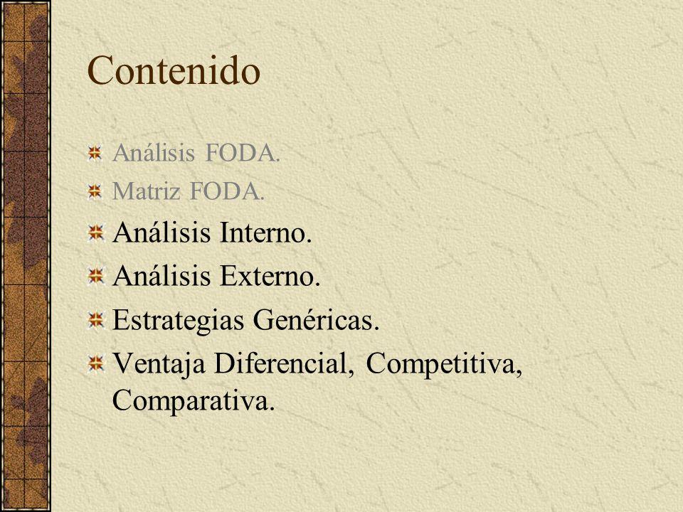 Contenido Análisis FODA. Matriz FODA. Análisis Interno. Análisis Externo. Estrategias Genéricas. Ventaja Diferencial, Competitiva, Comparativa.