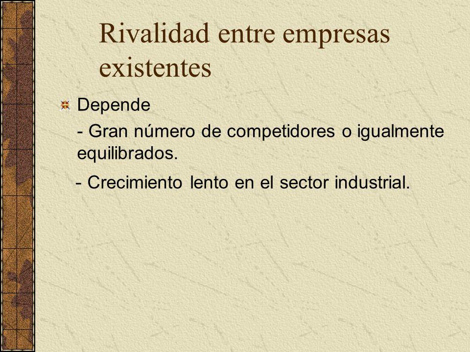 Depende - Gran número de competidores o igualmente equilibrados. - Crecimiento lento en el sector industrial. Rivalidad entre empresas existentes