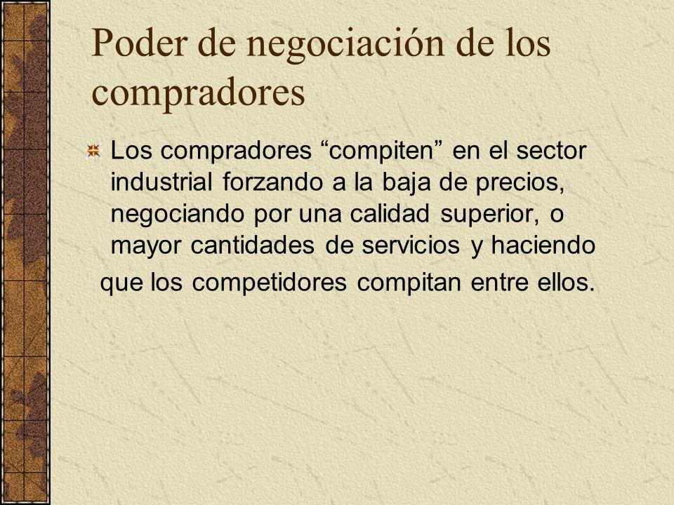 Poder de negociación de los compradores Los compradores compiten en el sector industrial forzando a la baja de precios, negociando por una calidad sup