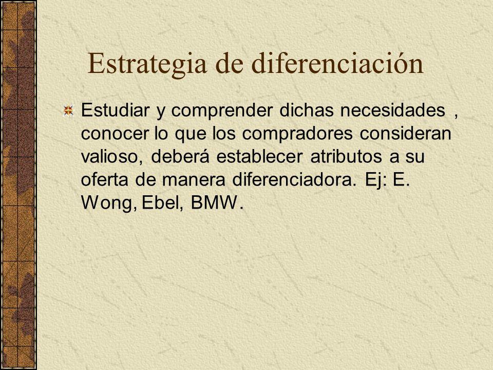 Estrategia de diferenciación Estudiar y comprender dichas necesidades, conocer lo que los compradores consideran valioso, deberá establecer atributos